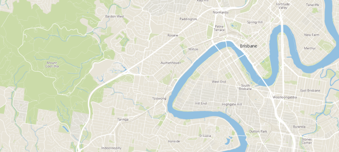 black and white map of Brisbane
