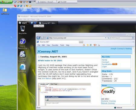 Windows XP running windows vista as a VPC, displaying this site in the browser.